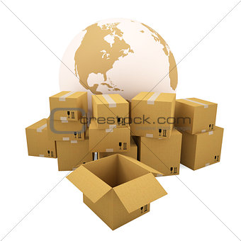 Cardboard boxes on the background of the earth
