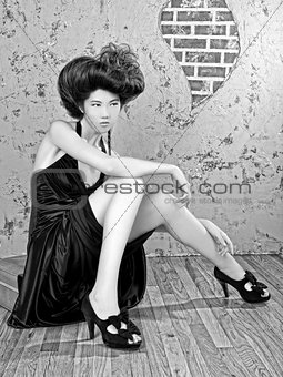 Asian Woman With High Styled Hair
