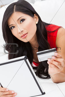 Asian Chinese Woman Tablet Computer Credit Card