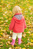 Baby collecting fallen leaves. Rear view