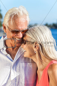 Happy Romantic Senior Man Woman Couple Laughing