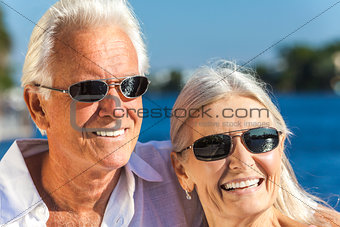 Happy Senior Man Woman Couple Tropical Sea