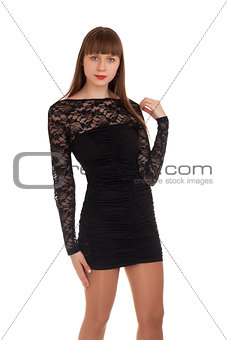 Beautiful woman in black dress