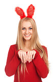 Beautiful young woman wearing bunny ears