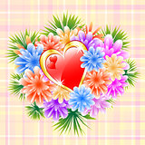 Flower Bouquet with Red Love Heart