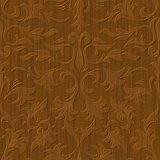 seamless abstract wood carved floral ornament background