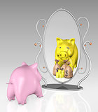 piggy bank is in front of a mirror