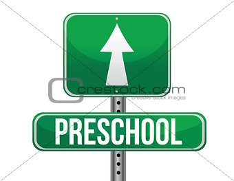road traffic sign with a preschool