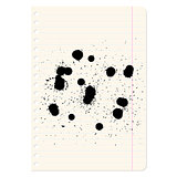 Brush blot on  exercise book in line. Vector illustration.