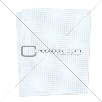 Three blank sheets of paper sheet.