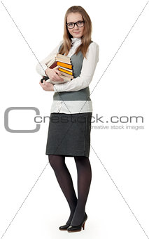 girl in glasses with books