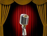 Retro microphone and curtains
