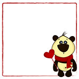 background for postcard with panda and heart