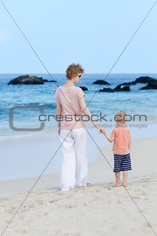 mother and son at the beach