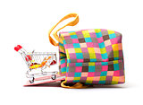 Shopping Cart with Vibrant Bag