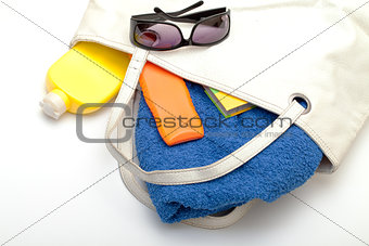 Beach Bag with Towel and Bottles Cream