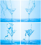 Collage of Water Splashing in a Wineglass
