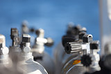 Macro shot of valves on scuba equipment