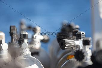 Macro shot of valves on scuba equipment
