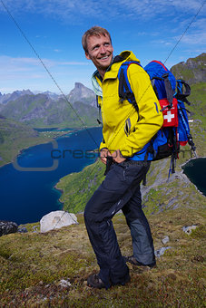 Smiling hiker in Norway