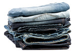 Stack of Folded New Jeans