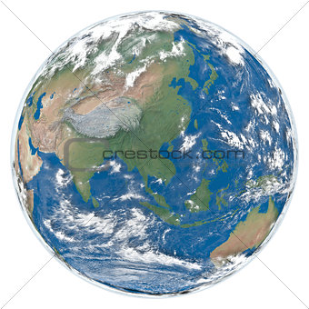 Model of Earth facing Asia