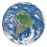 Model of Earth facing South America
