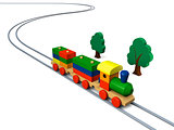 Wooden toy train illustration