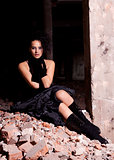 beautiful woman posing in ruins