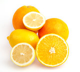 Bright orange with half a lemon