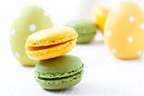 Colorful macaroons and Easter eggs