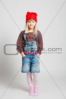 Smiling girl wearing Christmas hat