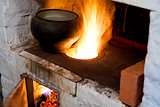 russian stove and old cast-iron pot