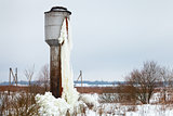 frozen tank tower in country field