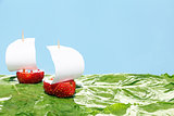 boats, made of fresh strawberries