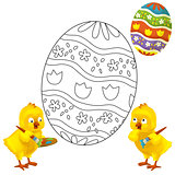 The coloring page - easter chicken