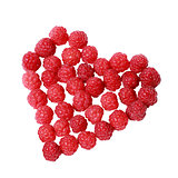 Heart made of raspberries