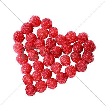 Heart made of raspberries