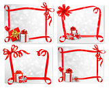 Set of holiday backgrounds with red gift bow with gift boxes. Ve