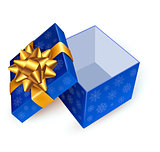 Opened blue gift box with golden ribbon. Vector illustration.