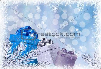 Christmas blue background with gift boxes and snowflake. Vector