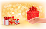 Christmas background with gift boxes. Concept of giving presents