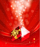 Christmas background with open gift box. Vector.
