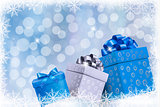 Christmas blue background with gift boxes and snowflakes. Vector