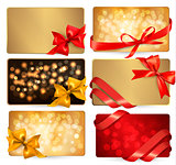 Set of beautiful gif cards with red gift bows with ribbons Vecto