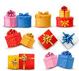 Collection of color gift boxes with bows and ribbons. Vector ill