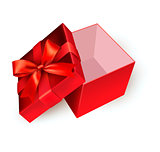 Open red gift box with golden ribbon. Vector illustration.