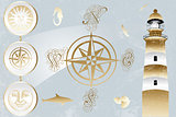 Antique nautical design elements and lighthouse