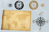 Antique vintage world map and wind rose