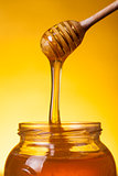 Close-up shot of flowing honey 